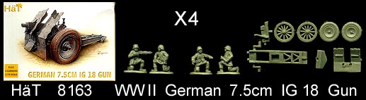 HaT 1/72 WWII German 7.5cm IG 18 Gun (20 Pcs) image