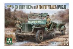 Takom 1/35 US Army 1/4 Ton Truck with Trailer & Figurine image