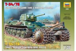 Zvezda 1/35 Soviet Battle Tank T-34/76 W/Mine Plow image