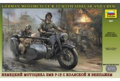 Zvezda 1/35 German Motorcycle Team with Sidecar image