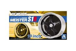 "Aoshima 1/24 Rims & Tires - Work Meister S1R 19"" image"