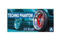 "Aoshima 1/24 Rims & Tires - Techno-Phantom 14"" image"