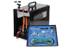 Fengda 2 Outlet Compressor with 2 Pro Airbrushes Set image