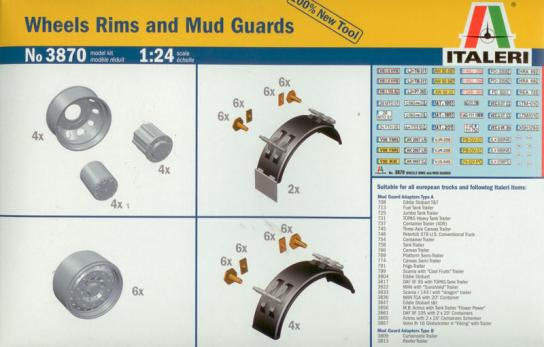 Italeri 1/24 Wheels Rims and Mud Guards image